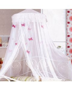 White Frill Butterflies Bed Net