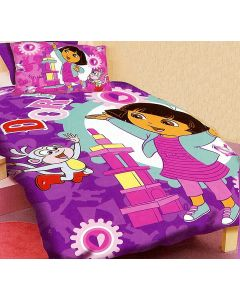 Dora and Boots the monkey are playing with toys and constructing a tower with building blocks on this purple Dora bedding set.