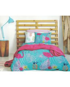 Flamingo Palm Quilt Cover Set