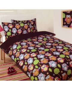 Owls Chocolate Duvet Cover
