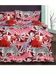 Retro Jungle Red Quilt Cover Set