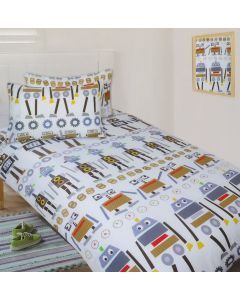 A pattern of funny artifical intelligence characters dance across the fabric of this robot bedding set.