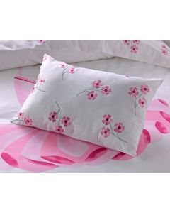 Elegant flowers are embroidered on this comfy pillow from the Tutu bedding collection.