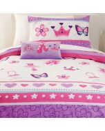 Dance like the butterflies on the Little Ballerina bed set accompanied by a tutu dress, dressing table, slippers, flowers, purple and pink hearts.