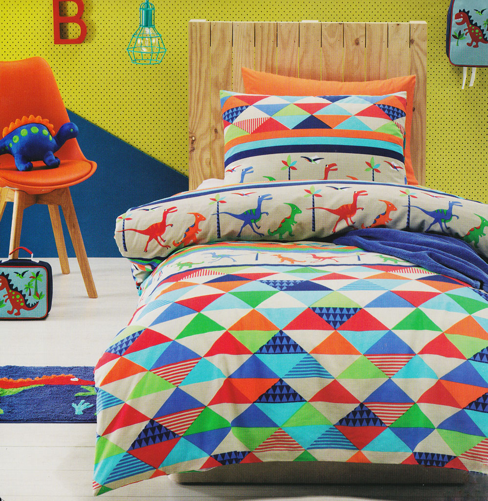 Twin Bed Linen for Fans of Dinosaurs - Kids Bedding Dreams