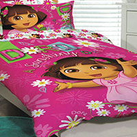 Dress the bed with quilt  and duvet covers for kids