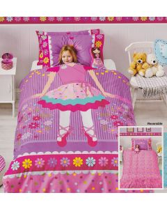 Sweet dreams of becoming a cute ballerina on pointe become a reality as your little one sleeps at night with this beautiful reversible duvet set.