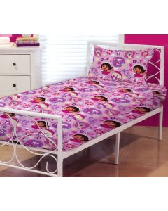 Sleep snugly in between Dora the Explorer bed sheets featuring a pattern of Dora and friend, Boots.