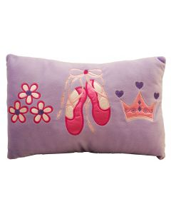 Ballet shoes, flowers and a tiara are showcased on a throw pillow to keep your little dancer comfortable and match the Little Ballerina doona cover.