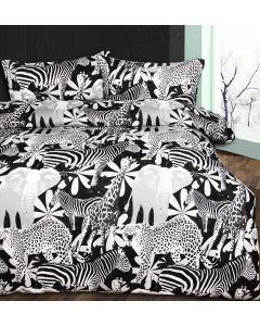 Retro Jungle Black Quilt Cover Set
