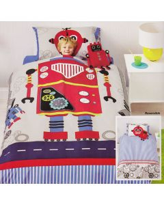Robot Bob is a fun duvet set that showcases the mechanics and technology for children that love robotics.