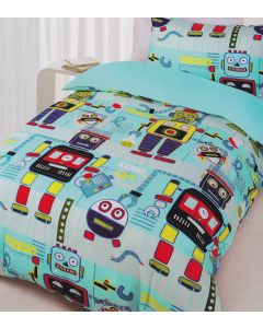 Cute cartoon like machines make fabulous robot themed bedding for kids of all ages, from toddlers to tweens.