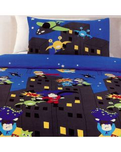 The heroic superhero squad fights crime and defeats bad guys and monsters on a fun comic strip book style reversible duvet cover for children.