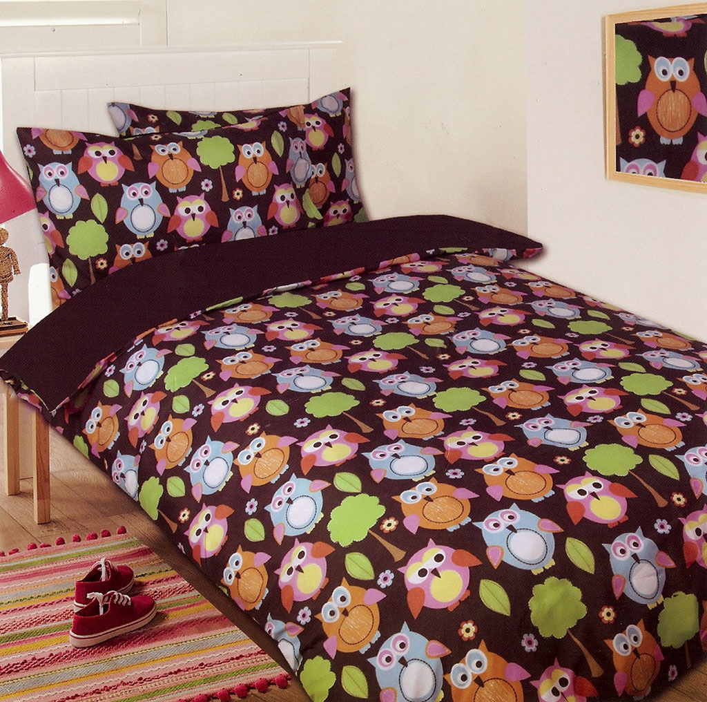 Owl Chocolate Quilt Cover Set
